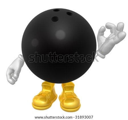 Bowling ball mascot figure - stock photo
