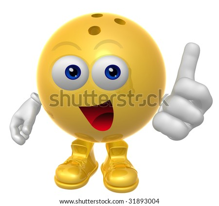 Bowling ball mascot figure with thumb up - stock photo