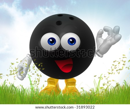 Bowling ball on the green meadow - stock photo