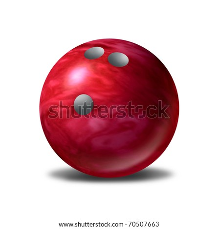 Bowling ball single red bowl symbol  isolated - stock photo