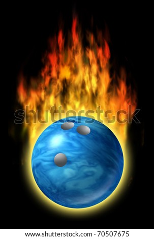Bowling ball speed fire flames fast excellent skills single blue bowl symbol isolated - stock photo