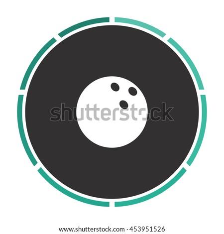 Bowling ball. White circle button on black background - stock photo