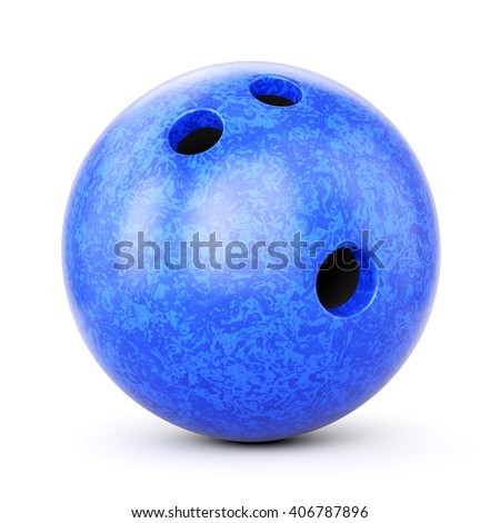 Bowling ball with blue marble texture isolated on white background. 3D illustration