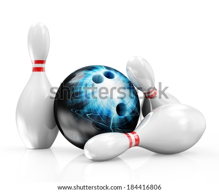 Bowling Ball with Skittles isolated on white background - stock photo