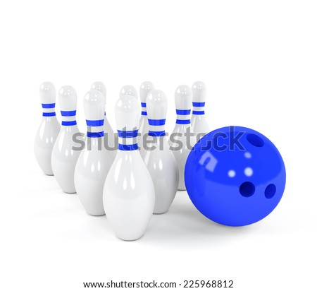 Bowling ball with the white skittles - stock photo