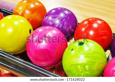bowling balls - stock photo