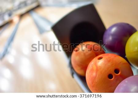 Bowling balls close-up - stock photo