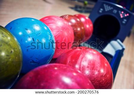 Bowling balls machine - stock photo