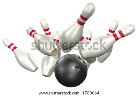 Bowling 3D - stock photo