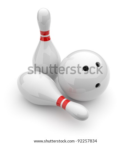 Bowling 3D. Sport concept. Isolated on white background