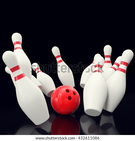 Bowling game with red bowling ball crashing into the skittles. on black backgorund. 3d illustration - stock photo