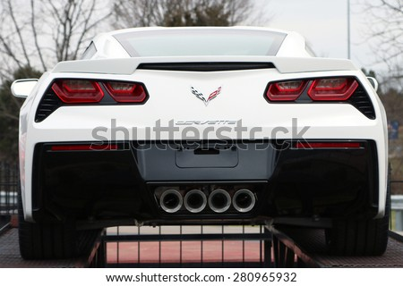 BOWLING GREEN, KY-MAY, 2015: Rear view of the new Chevrolet Corvette Stingray on display at the Corvette assembly plant in Bowling Green, KY.    - stock photo