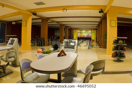 bowling hall - stock photo