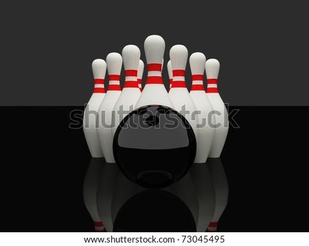 Bowling on black background - stock photo