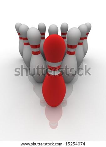 bowling pins - stock photo
