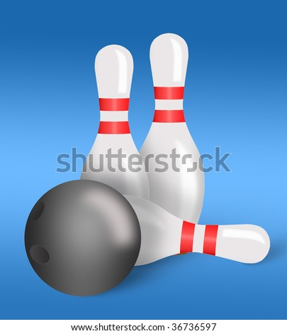 Bowling pins and ball for playing bowling