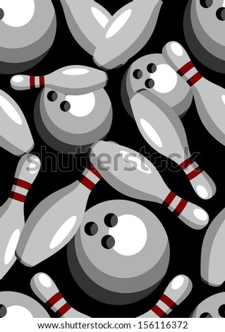 bowling pins and balls, seamless pattern - stock photo