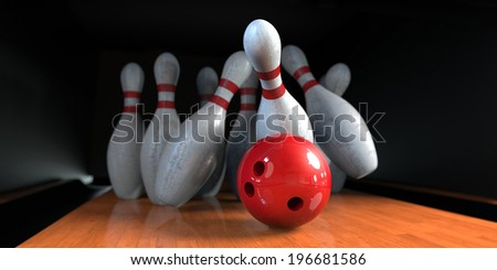 Bowling pins crashed with the red ball - stock photo