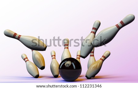 bowling pins isolated on pink background - stock photo