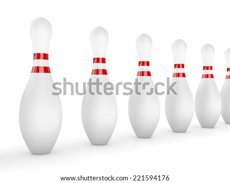 Bowling Pins on white background. - stock photo