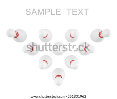 Bowling pins with red stripes isolated on white background, view top. 3d illustration high resolution - stock photo