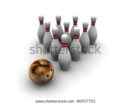 Bowling skittles and fire ball isolated on white - stock photo
