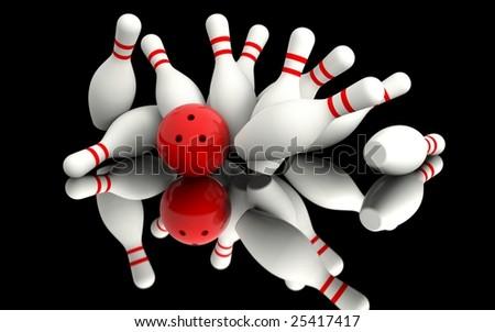 Bowling - Strike - stock photo
