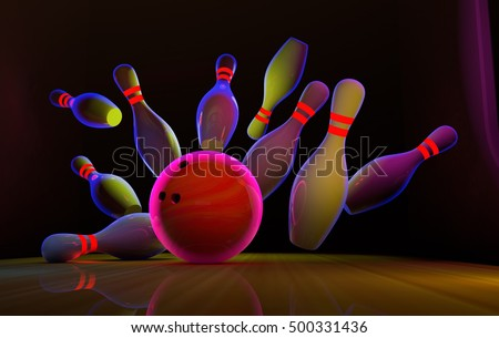 Bowling strike in the neon light. 3D illustration