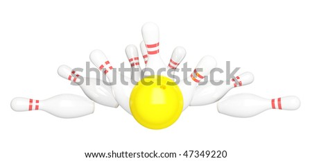 Bowling strike isolated on white