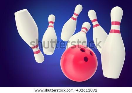 Bowling strike with ball and bowling pins on blue background. 3d illustration - stock photo