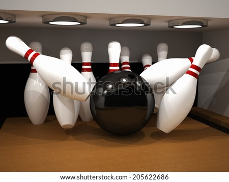 Bowling The strikes - stock photo