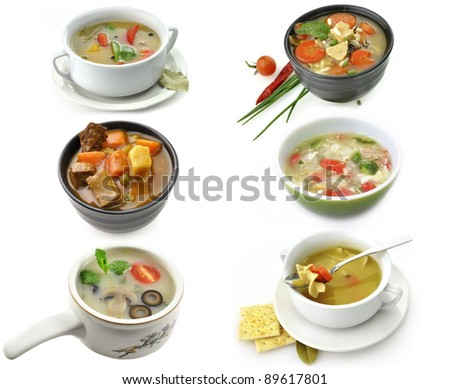 Bowls Of Healthy Soup On White Background - stock photo