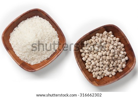 bowls of rice and chickpeas - stock photo