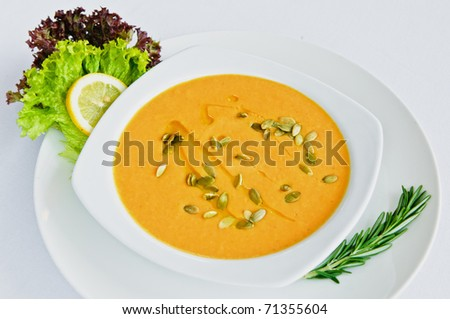 Bowls of  vegetable soup in a Mexican restaurant - stock photo