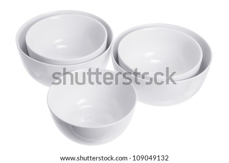 Bowls on White Background
