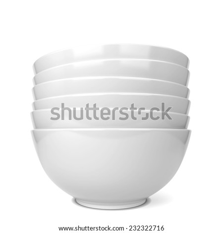 Bowls stack. 3d illustration isolated on white background  - stock photo