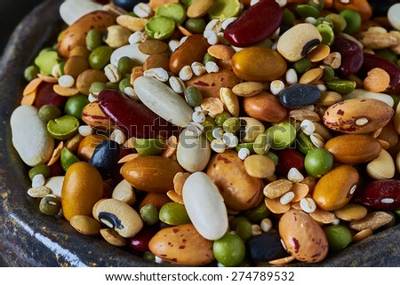 Bowls with legumes, closeup - stock photo