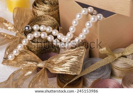 Box and ribbons - stock photo