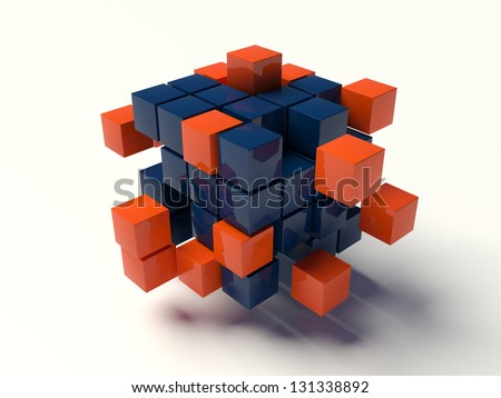 Box chaos in network - stock photo