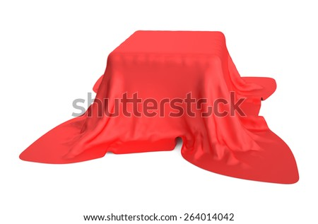 Box covered with a red cloth isolated on white background