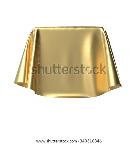 Box covered with golden fabric. Isolated on white background. Surprise, award, prize, presentation concept. Showroom stand. Reveal a hidden object. Raise the curtain. Photo realistic illustration. - stock photo