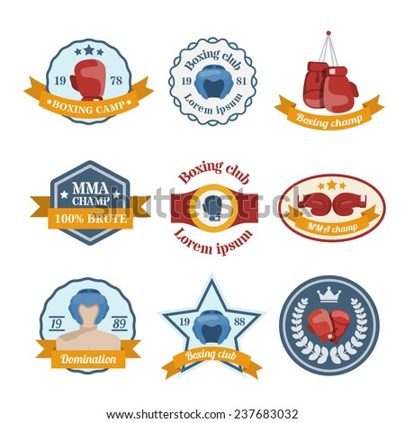 Box fight sport camp club championship emblems set isolated  illustration - stock photo