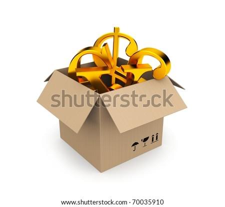 Box filled gold symbols of money - stock photo
