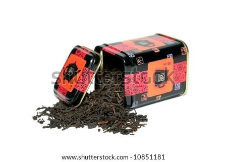 box for tea on a white background - stock photo