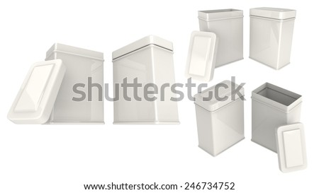 Box for tea or things white tins blank close and open set isolated on white background.Easy editable for your design. - stock photo