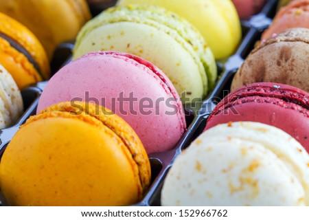 box full of colourful macaroon - stock photo