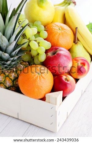 box full of fresh fruits - fruits and vegetables - stock photo