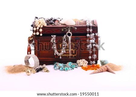 Box full of jewellery - stock photo