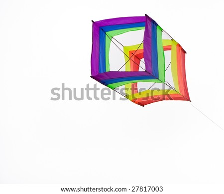 box kite isolated with a white back ground - stock photo