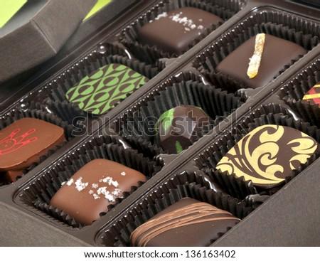 Box of chocolate candies - stock photo
